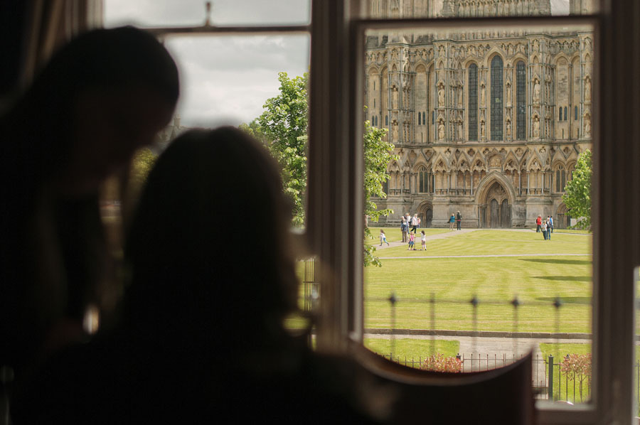 Looking out over Wells cathedral