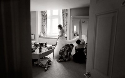 Documentary wedding photography at Langdon Court in Devon
