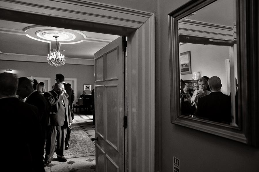 Wedding reception guests - reflection shot