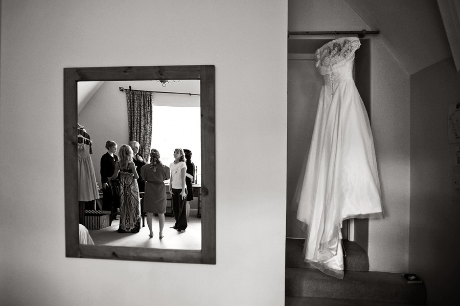 Bridal preparations reflection shot