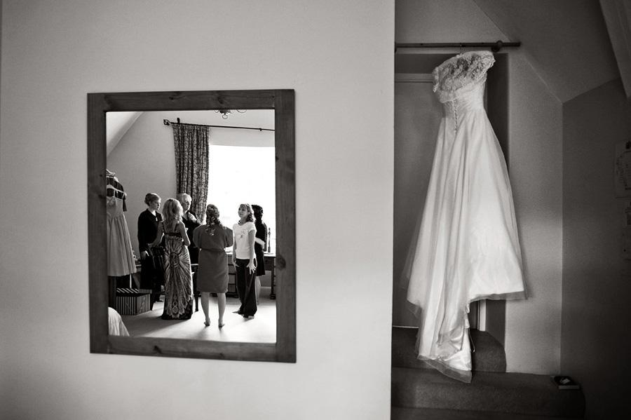 Bridal preparations reflection shot