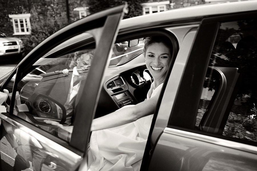 Bride's arrival - Dad reflected in car door