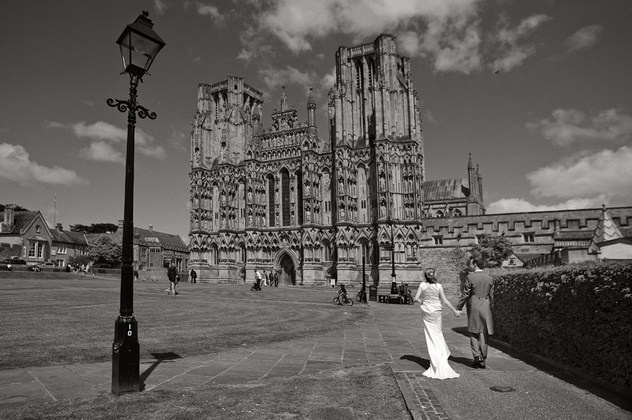 Sarah and Daniel walking towards Wells Cathedral